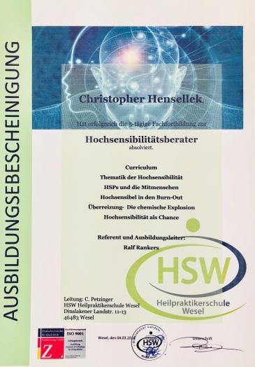 HSP Coach/Berater Bescheinigung